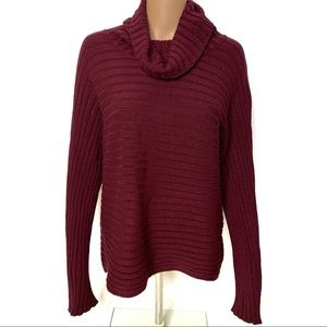 Cable & Gauge Loose Turtleneck Red Sweater